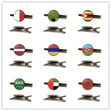 Malta Zambia Zimbabwe Letland Armenië Azerbeidzjan Saudi Arabië Vae Marokko Nationale Vlag Glas Cabochon Stropdas Clip Voor Mannen Shirt
