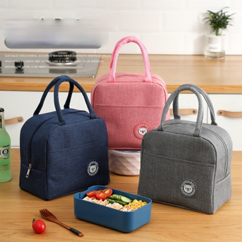 Fresh Cooler Bags Waterproof Nylon Portable Zipper Thermal Oxford Lunch Bags For Women Convenient Lunch Box Tote Food Bags