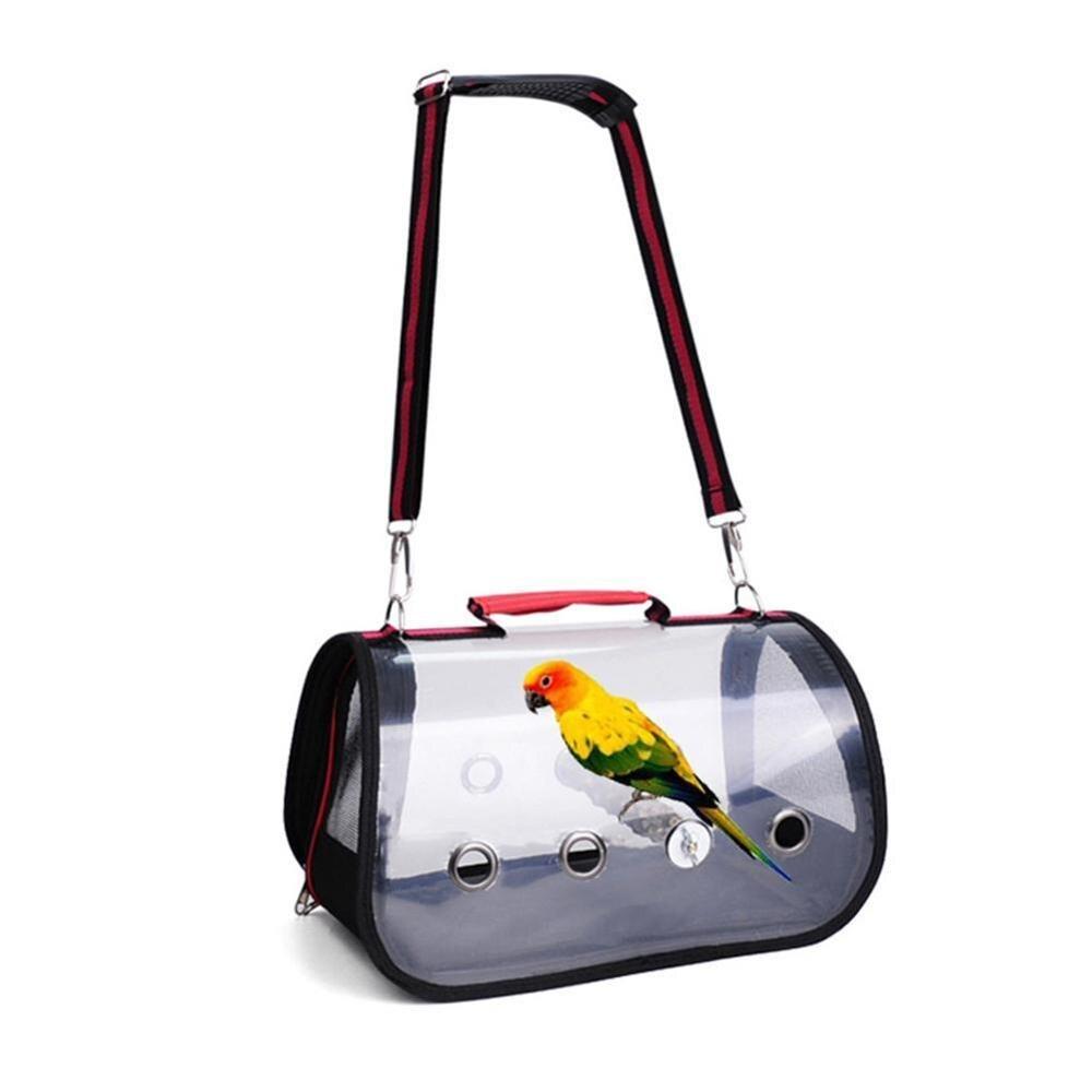 Mochila transparente para mascotas 45x23x26cm, con loro, jaula de transporte para viajes al aire libre, cómoda mochila transpirable plegable