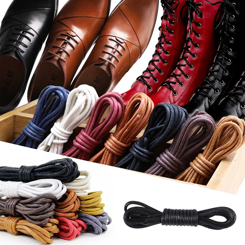 1Pair Leather Shoelaces Cotton Waxed Shoelaces Round Shoe laces Boot Shoes Laces Waterproof Leather