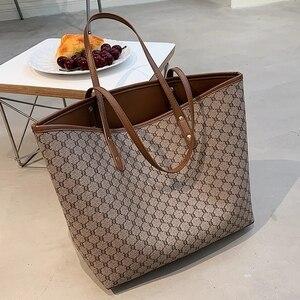 2 Pcs/set High Capacity Tote Handbag for Women 2021 Luxury Designer Trends Brand Striped Shoulder Shopping Bag Purse