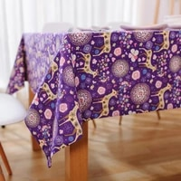 fantasy fawn purple cotton tablecloth fabric pastoral small fresh coffee table christmas table style tablecloth square towel