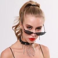 nauq trend personality frameless cat eye sunglasses women 2020 brand designer metal punk sun glasses retro polygon eyewear uv400
