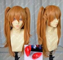 Anime EVA Asuka Langley Soryu Lange Orange Mit 2 Pferdeschwanz Clips Hitze Beständig Haar Cosplay Kostüm Perücke + Headwear Haripin
