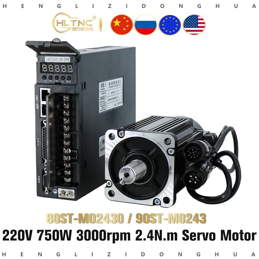 220 فولت 750 واط 80ST-M02430 90ST-M02430 A1-SVD15 محرك معزز 3000 دورة في الدقيقة 2.4 N.M مرحلة واحدة محرك التيار المتناوب المغناطيس الدائم المتطابقة