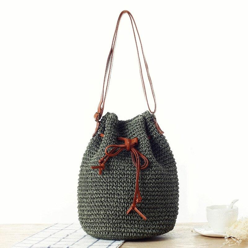 Aaby 2021 Summer Straw Bag Women Shoulder Handmade Rattan Female Handbag Bolsa Wicker Bags for