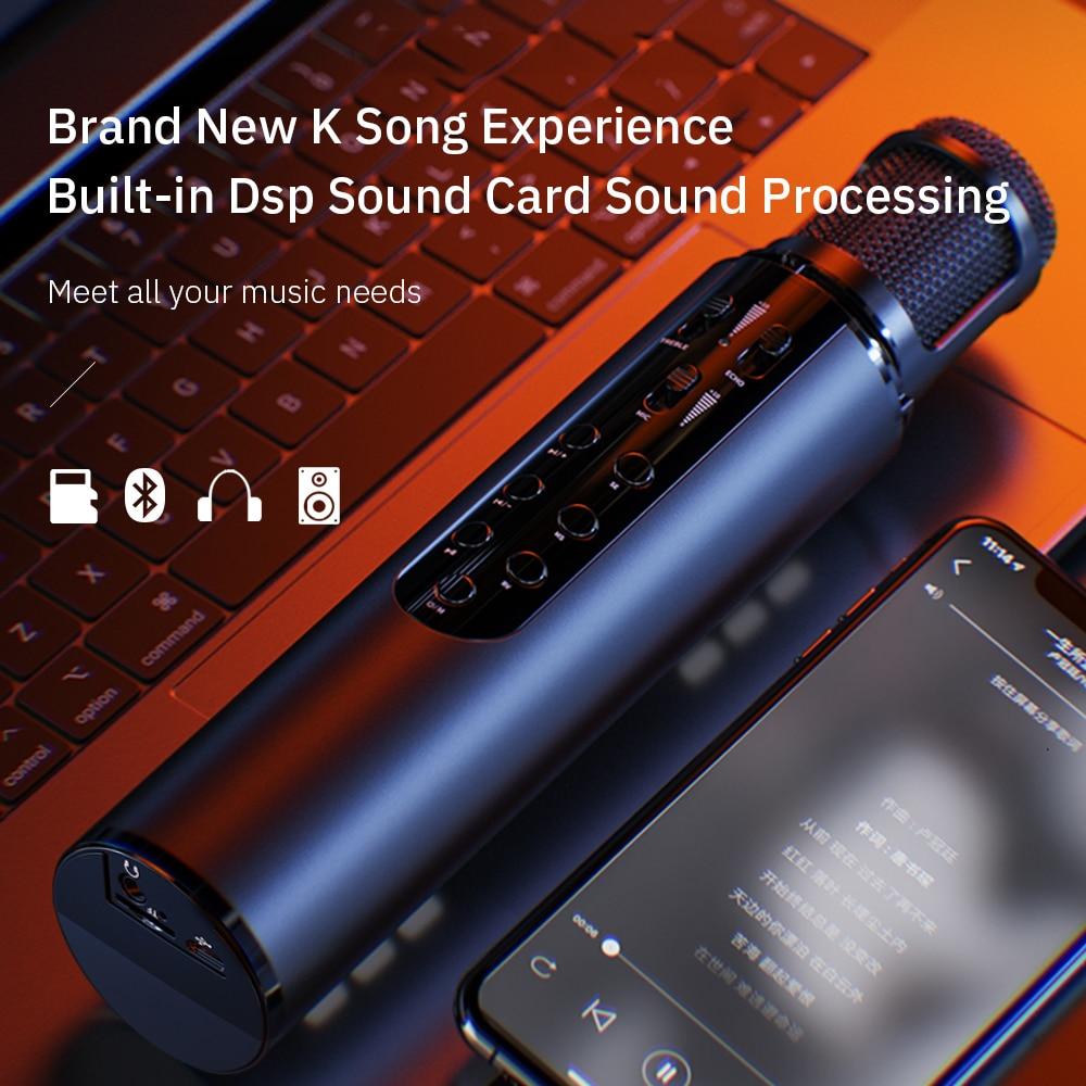 Беспроводной конденсаторный Студийный микрофон, микрофон для телефона, караоке, Bluetooth колонка, микрофон со встроенной звуковой картой, устр...