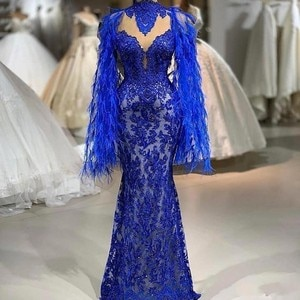 Royal Blue Lace Mermaid Prom Dresses Feather Long Sleeves High Neck Evening Gowns Floor Length Formal Party Dress