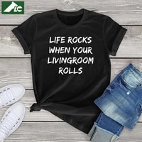 funny camping t shirt women clothing camping life rocks when your livingroom rolls letter fashion unisex t shirt oversized tops