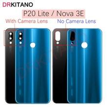 For Huawei P20 Lite Back Battery Glass Cover+Camera Lens NOVA 3E Rear Door Housing Case Panel for Hu