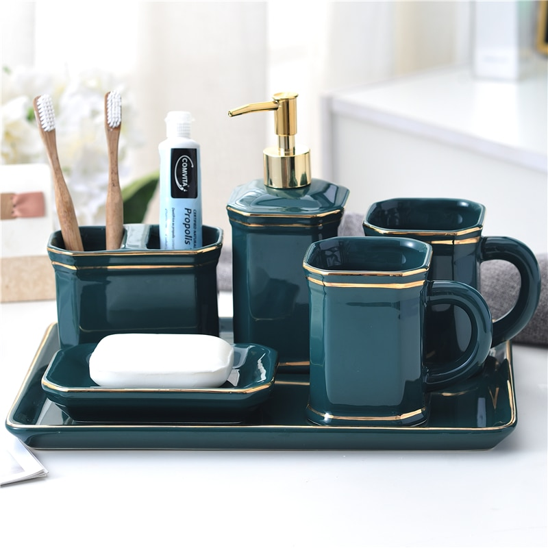 Bathroom Set Ceramic Soap Dispenser Mouthwash Cup Toothbrush Holder Soap Dish Tray Washing Room Set Bathroom Decorations enlarge