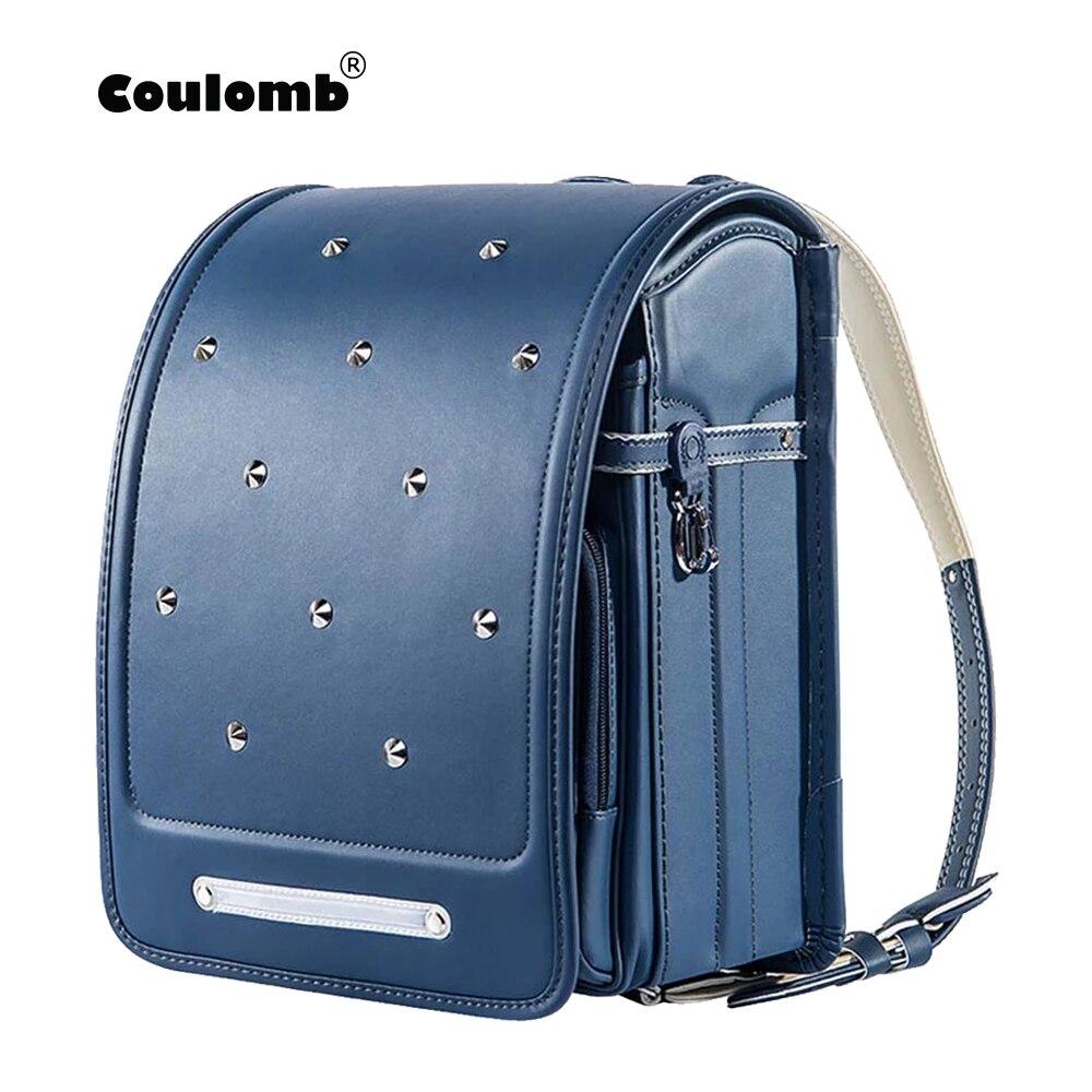 Coulomb criança mochila para meninos e menina saco de escola plutônio rebites hasp randoseru ortopédico mensageiro sacos de livro japão mochila a4 saco