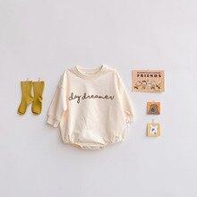 2021 Autumn Cute Newborn Baby Romper Infant Boys Girls Print Letter Bodysuit Toddler Jumpsuit Childr