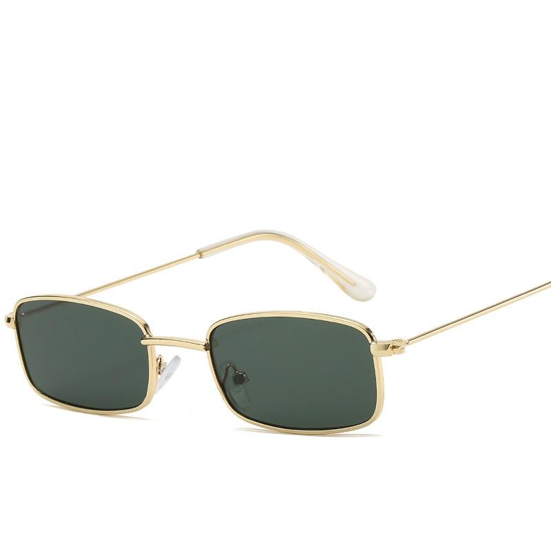 Candy Color Sunglasses Unisex Retro Rectangle Shades Sunglasses UV400 Metal Frame Clear Lens Sun Gla