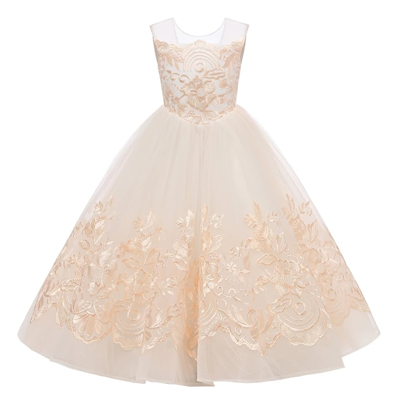 flower girls pageant dress kids wedding dresses for girl vestidos 2020 children lace white princess robe kid party evening gown Flower Girl Dress Backless Kids Gown Lace Pageant Ball Gowns Little Girls Wedding Party Dresses Princess First Communion Dresses