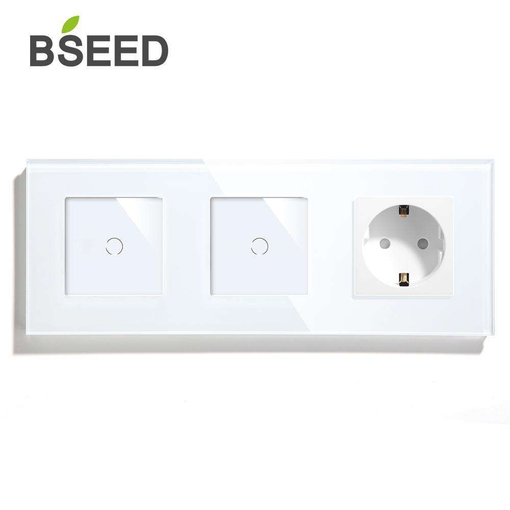 BSEED EU Standard 1Gang 1Gang 1Way Wall Touch Sensor Switch With EU Wall Socket Black White Golden Glass Panel Led Light Switch