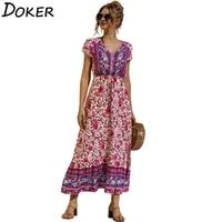 floral print midi dress women fashion v neck short sleeve plus size elegant ladies casual boho beach summer dresses ropa mujer
