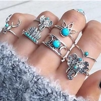 7pcsset vintage personality silver rings european and the united states 2021 style jewelry stainless steel womens rings