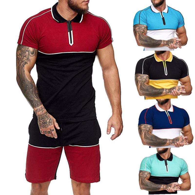 Ensemble t-shirt + Short pour homme, vêtements dété décontractés, 2 pièces, 2020