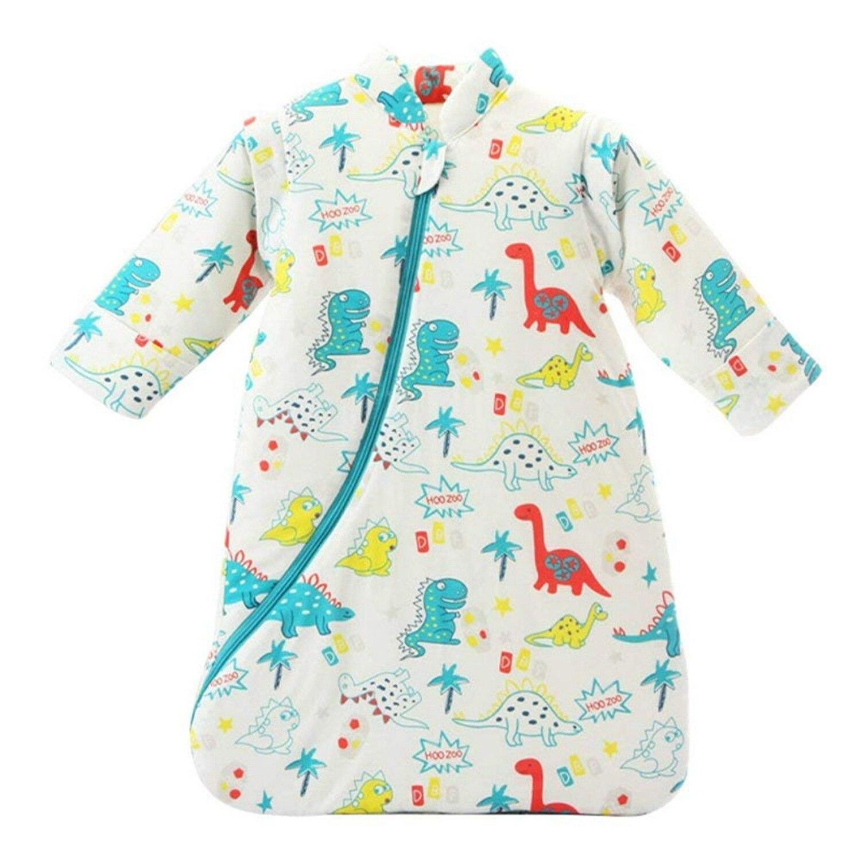 Bebé Unisex Sleepsack cobija vestible de algodón bolsa de dormir de manga larga nido camisones espesado invierno dinosaurio/3,5 Tog