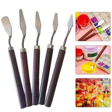 5Pcs Professional Stainless Steel Spatula Kit Palette for Creative Oil Painting Knife School Fine Arts Tool Set Flexible Blades