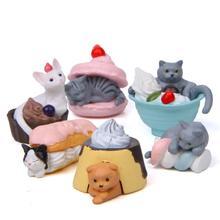 Kawaii Dessert Cat animal model home decor miniature fairy garden decoration accessories modern figurine PVC craft Bonsai toys