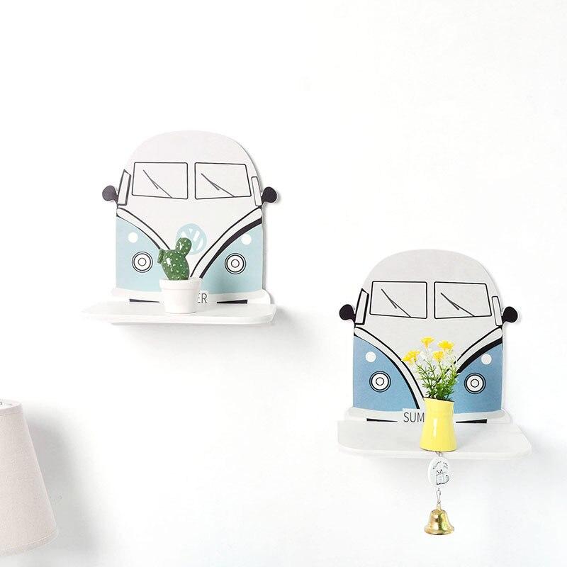 Wooden Wall Mounted Shelf Cartoon Bus Shaped Shelves Boy Children Room Decorations Nursery Home Decor Organizer