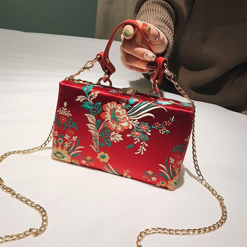 Bordado flores estilo chino moda fiesta bolso de mano cadena monedero Mini bandolera para mujer bolso de mano con solapa Totes