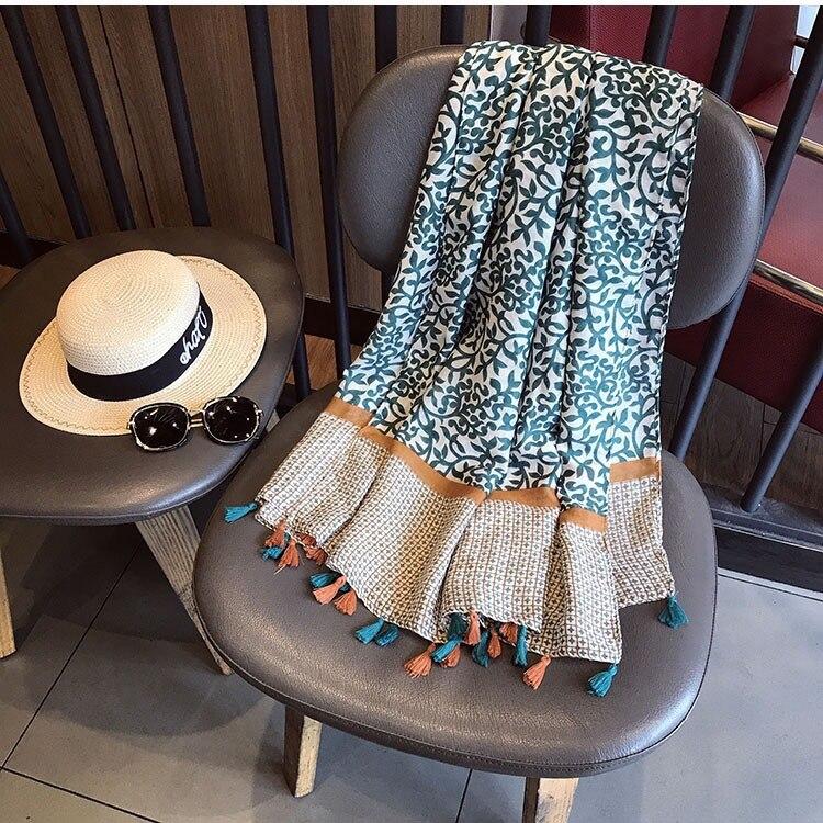 Женский шарф в богемном стиле, осенне-весенний Винтажный Длинный шарф в стиле Мехико с этническим принтом, шарф в стиле пэчворк, кашне накидка, шаль