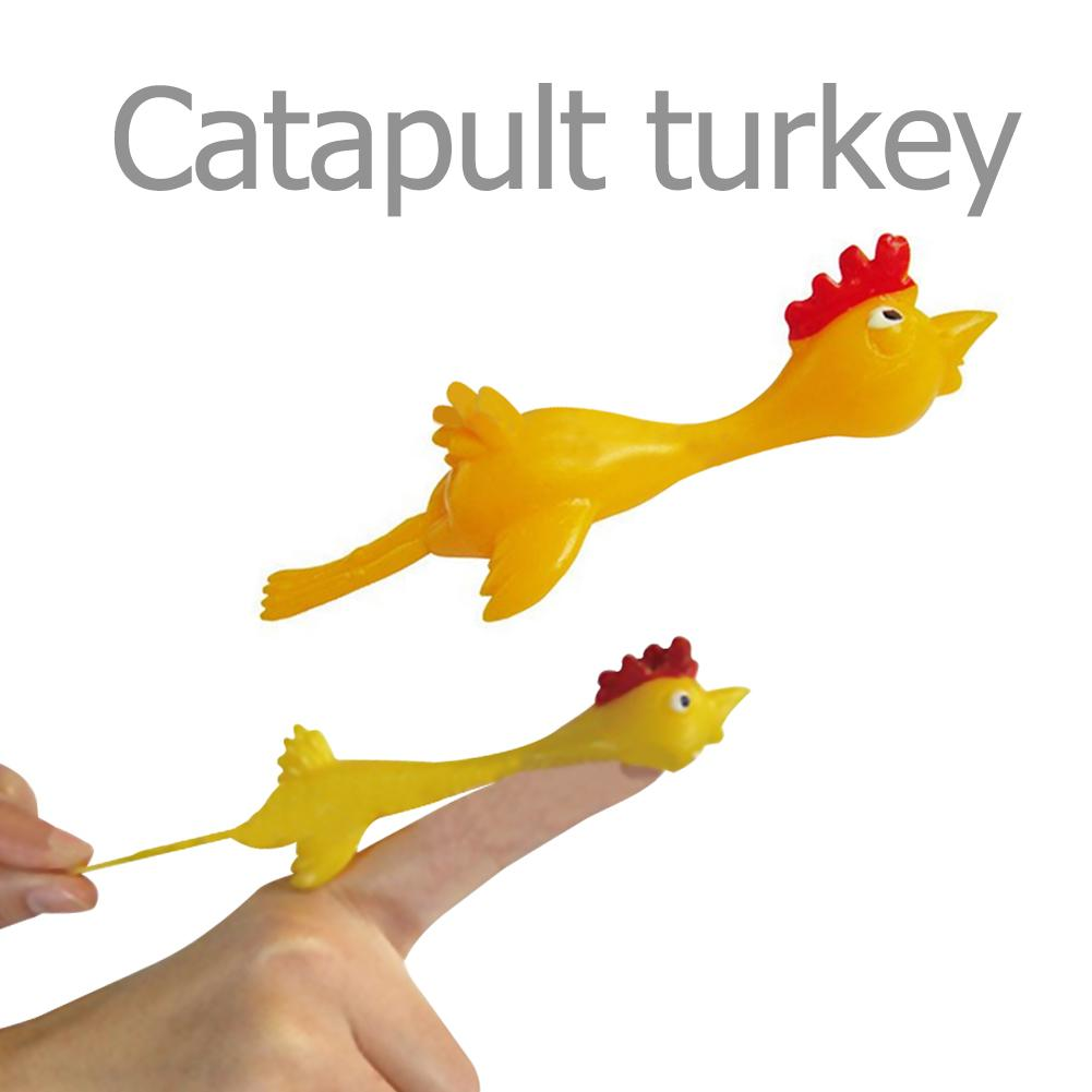 11.5CM Novelty Gags & Practical Joke Toys Funny Laugh Rubber Chicken Toy Stretchy Flying Turkey Finger Birds Sticky Toy