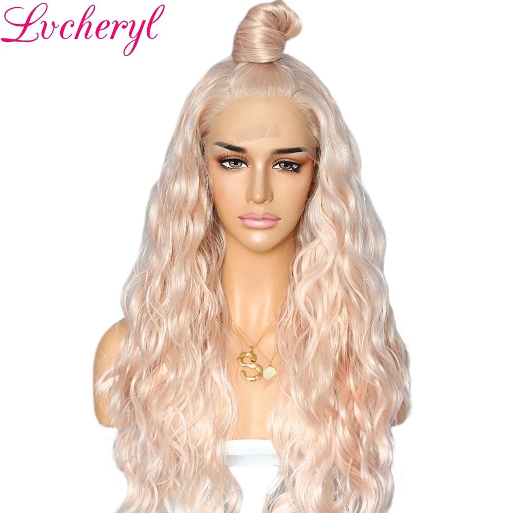 Perruques Lace Front wig synthétiques ondulées-Lvcheryl   Perruques naturelles de couleur Blonde pêche résistantes à la chaleur, perruques de fête pour tenue de femme