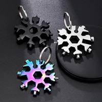 18 in 1 black portable keychain snowflake tool card multifunction screwdriver wrench beer opener bike hand tools gift for men