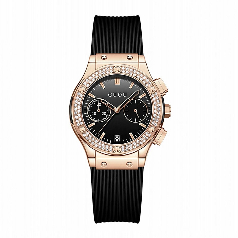 Top Brand GUOU Watches Fashion Domineering Black Big Dial Watch Female Silicone Strap Female Personality Korean Ladies Watch