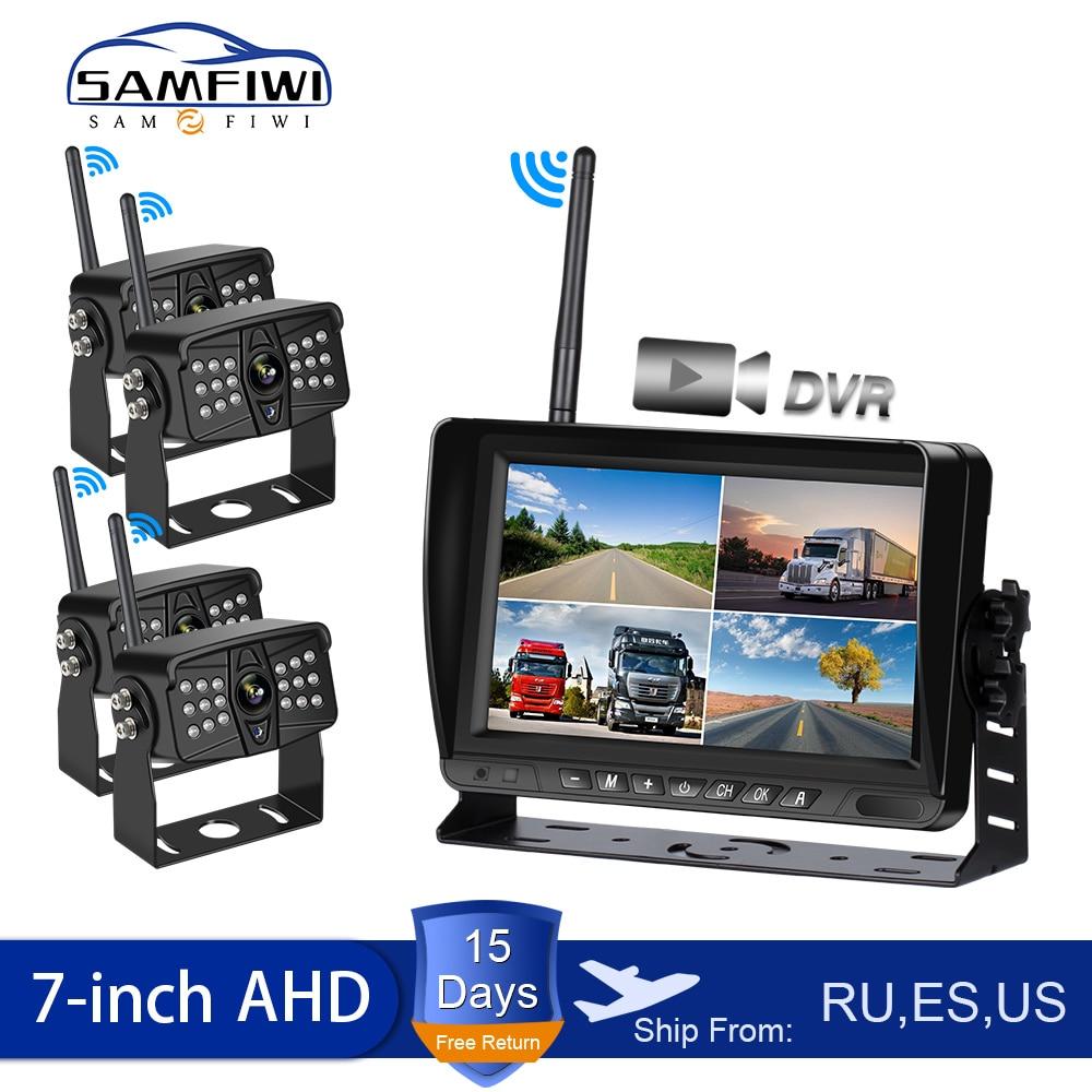 Review 7 inch Car Monitor AHD Wireless Car Screen DVR Display Vehicle Rear View Reverse Backup Recorder Wifi Camera Truck Monitors