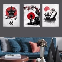 wall decor art ink red black goku anime poster japan nordic poster canvas print oil painting home living room picture decration