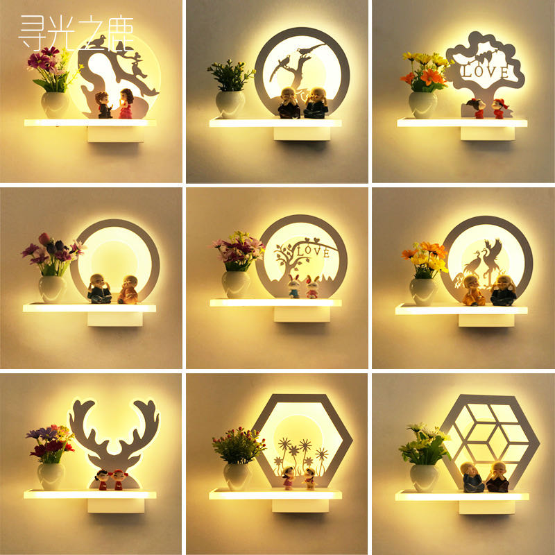 15 estilos lámpara de pared de acrílico con florero flor romántica lámpara de noche para dormitorio habitación pasillo escaleras lámpara de decoración de iluminación