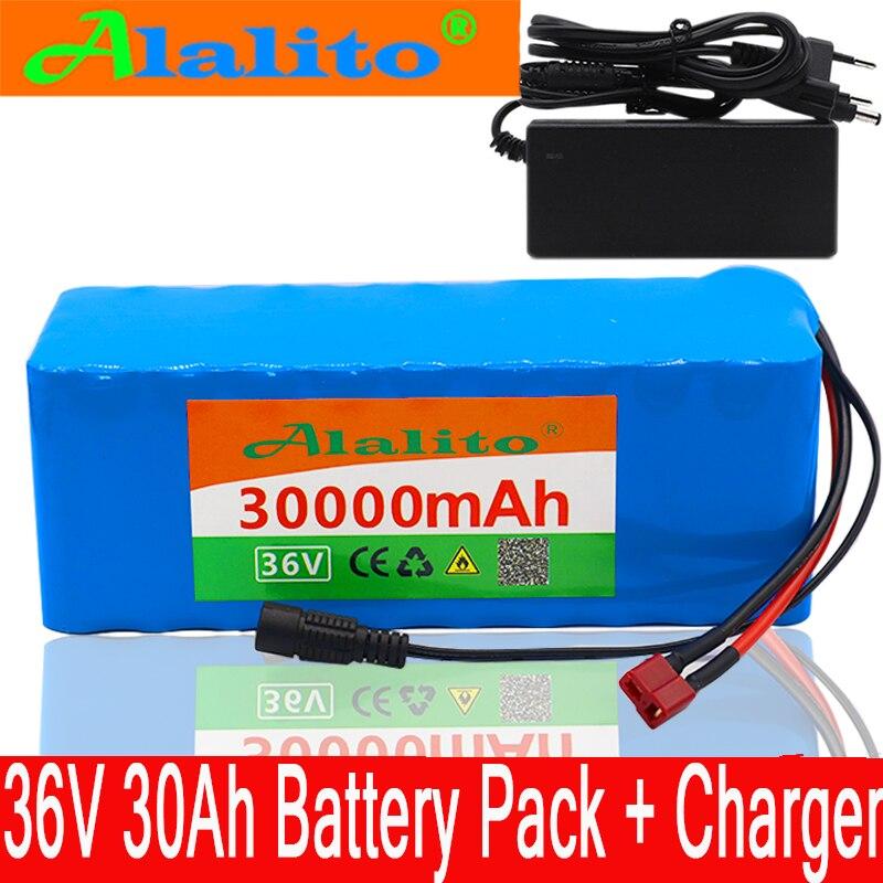 Nueva batería de 36V 10S4P 30Ah 36v 18650 Paquete de batería de 500W 42V 30000mAh para bicicleta eléctrica Ebike con cargador BMS + 2A