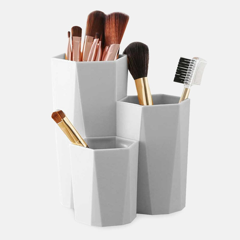 Cutie de depozitare pensule pentru machiaj cosmetic cu 3 rețele, - Organizarea și depozitarea în casă - Fotografie 2