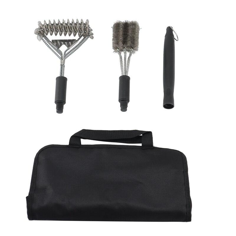الثقيلة آمنة شواء الأنظف-فرشاة شواء رئيس مع مكشطة في حقيبة حمل-مجموعة أدوات الشواء العالمي