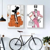 fashion cool girl canvas painting picture wall art feature poster and print nordic style decor for home metal frame decoration