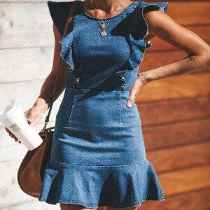 Dresses Women Denim Sleeveless Cap Sleeve Round Neck Travel Dress Women Dress Sweet Holiday Party Dresses