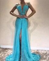 sexy deep v neck evening dresses sequins lace appliques capped short sleeves backless front split formal prom dresses