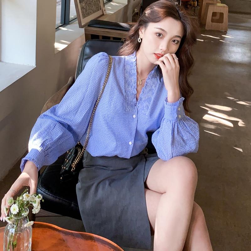 women long sleeve shirt v-neck tops 6203#