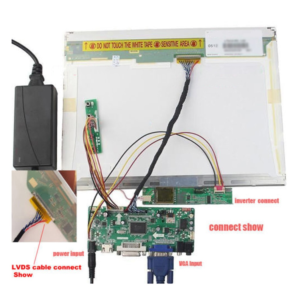 "17 ""/19"" bulbo/foco LCD M170E5-L09 HDMI conductor 1280X1024 DVI + VGA LCD inversor del controlador LVDS Cable de teclado kit 12V 3A"