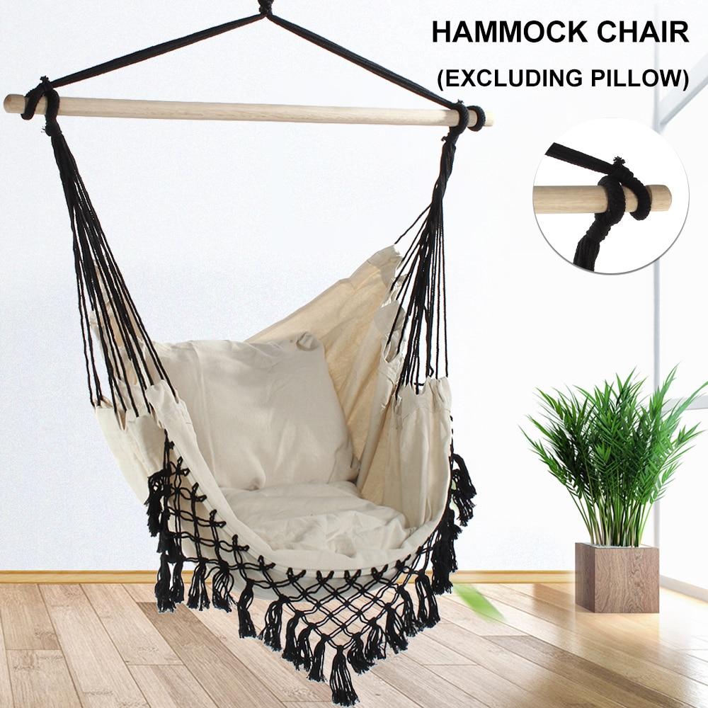 AliExpress - 130 x100 x100cm Nordic style Home Garden Hanging Hammock Chair Outdoor Indoor Dormitory Swing Hanging Chair with Wooden Rod