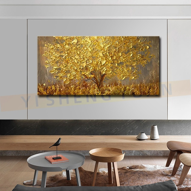 100% New Handmade Large Gold money Tree Painting Modern landscape Oil Painting On Canvas Wall Art Picture For Home Office Decor 4