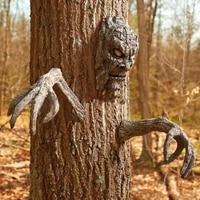 bark face tree sculptures funny statue creative ghost face design eye catching decorative handmade ghost bark face statue decor