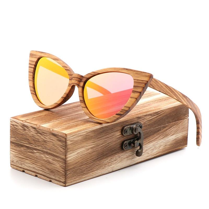 Luxury Fashion Polarized Sunglasses For Women Cat eye Sunglasses Wood Glasses With box Wooden ocular