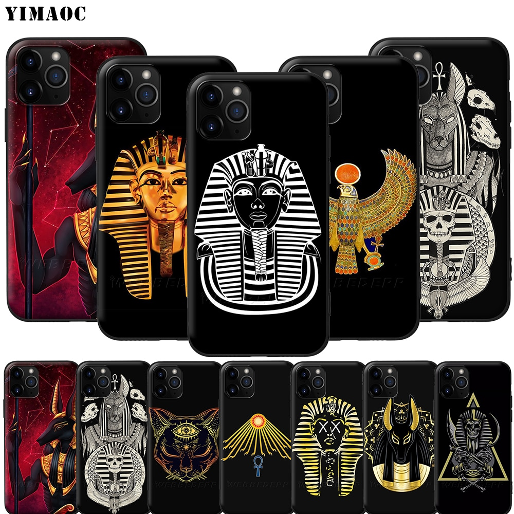 Yimaoc egito nefertiti anubis ankh faraó silicone caso macio para o iphone 11 pro xs max xr x 8 7 6 s mais 5 5S se