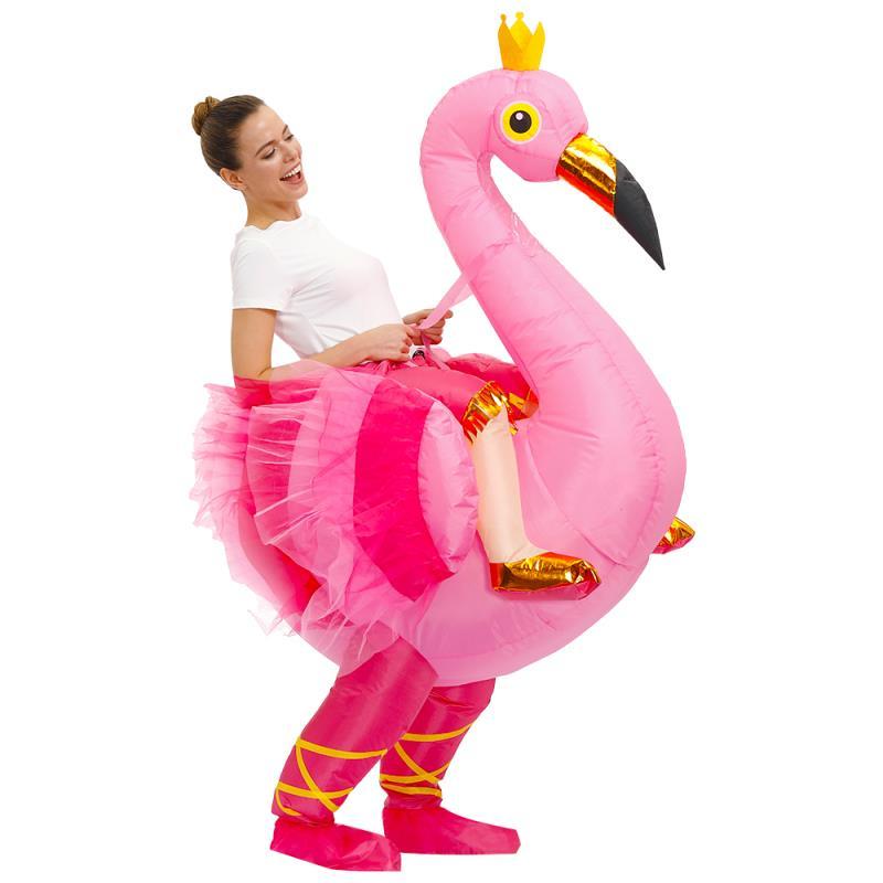 بدلة نفخ على شكل طائر النحام بدلة لأعياد الهالوين للبالغين بدلة على شكل حيوانات مضحكة بدلة على شكل طائر النحام للرجال والنساء